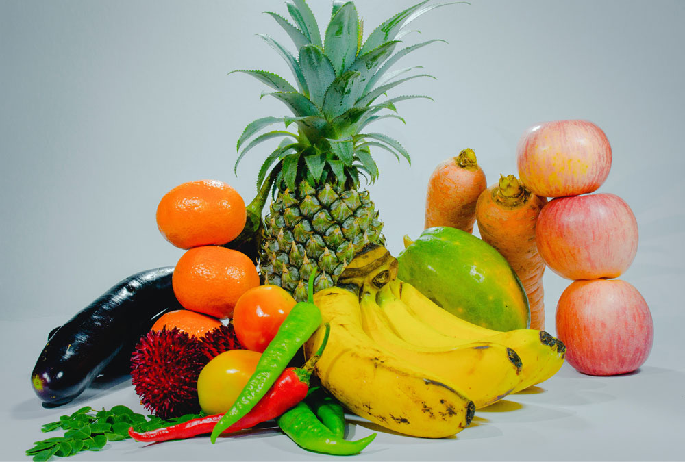 A mix of fruits and vegetables