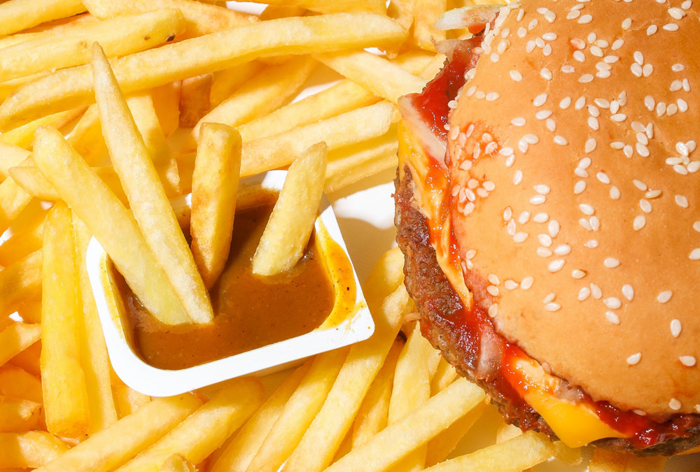 AN hamburger and french fries