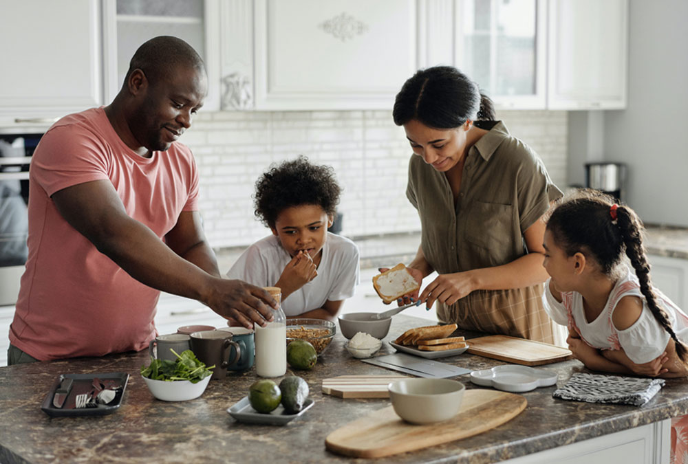 A family enjoying home cooking